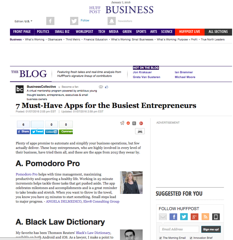 Elev8 Consulting Group CEO and Founder Angela Delmedico Featured in the Huffington Post