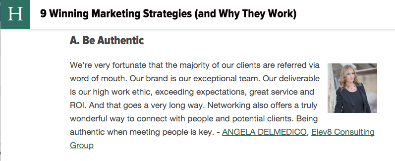 Elev8 Consulting Group CEO Angela Delmedico Featured in Huffington Post