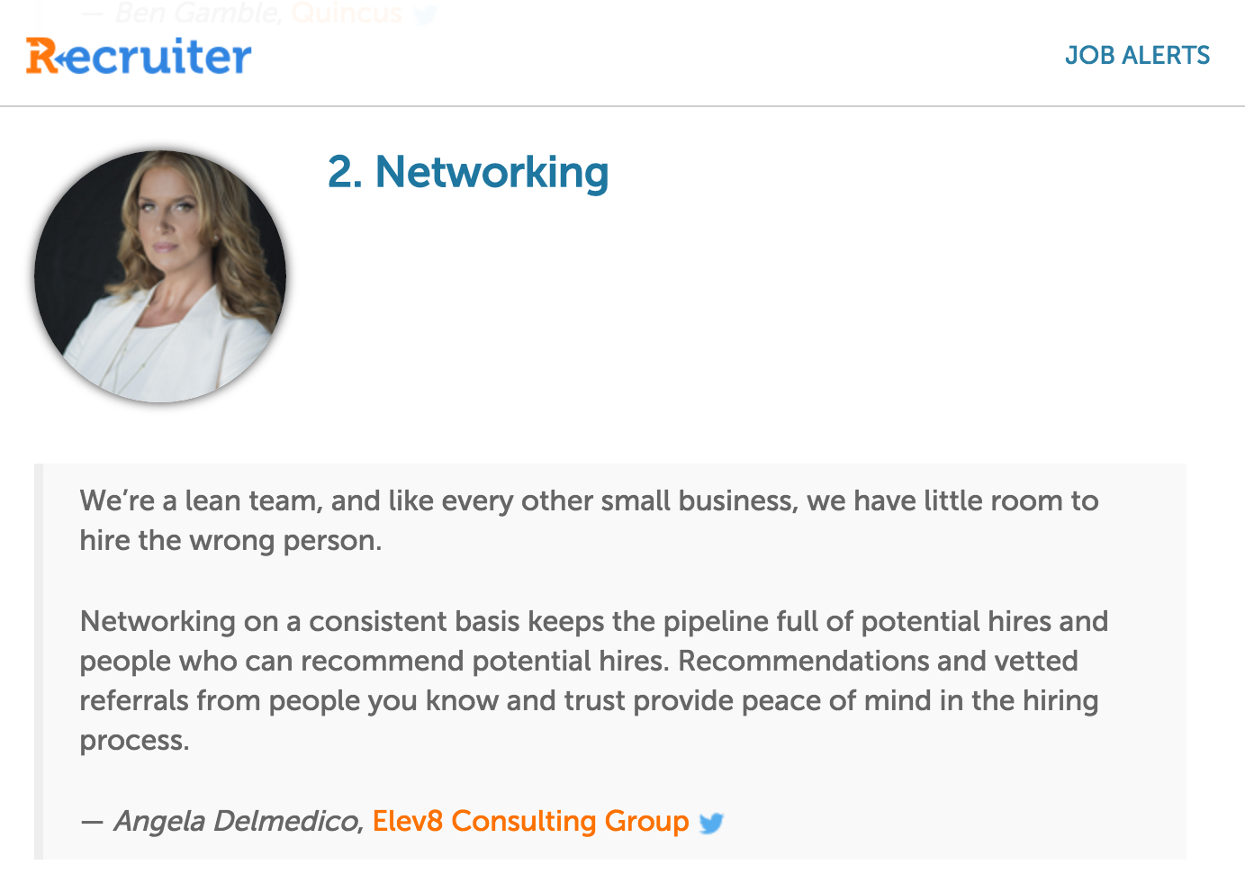 Angela Delmedico, Elev8 Consulting Group Recruiter
