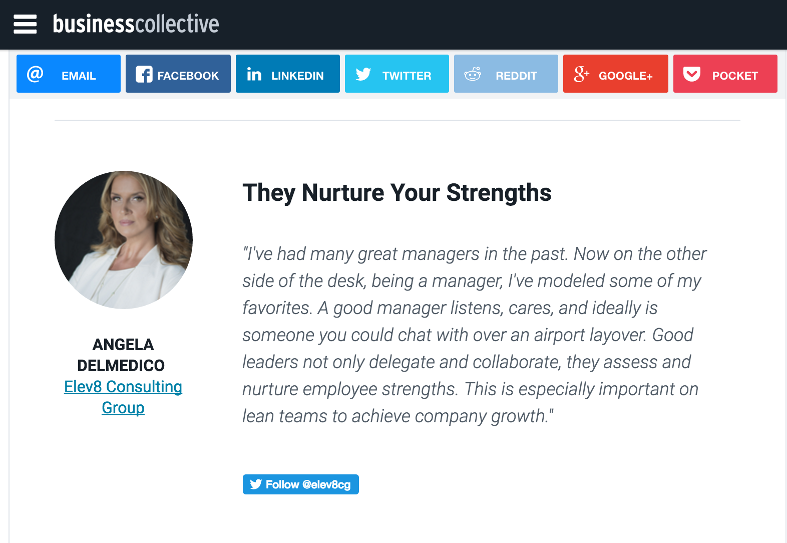 Angela Delmedico Elev8 Consulting Group Business Collective