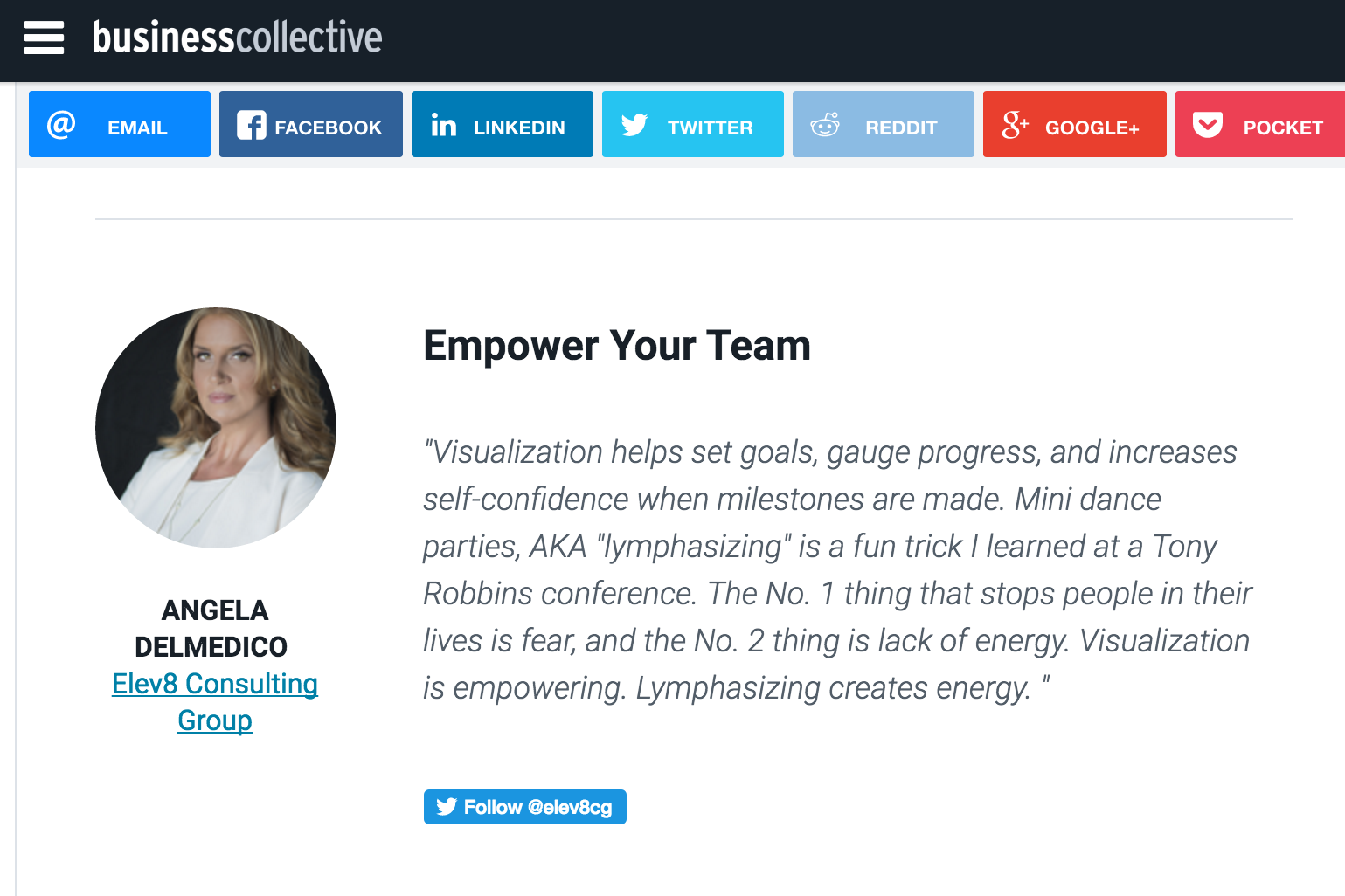 Angela Delmedico Elev8 Consulting Group The Business Collective