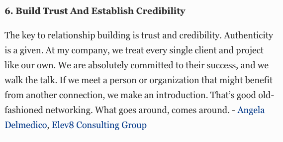 Elev8 Consulting Group CEO Angela Delmedico Featured In Forbes: How To Build Authentic Business Relationships